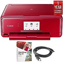 Canon PIXMA TS8120 Wireless Printer w/Scanner & Copier Red + Warranty Bundle