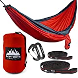 Sawtooth Double Camping Hammock With Tree Straps and Aluminum Carabiners - COMPLETE KIT - Lightweight Portable Parachute Nylon for Backpacking Hiking Travel Beach Park Yard.