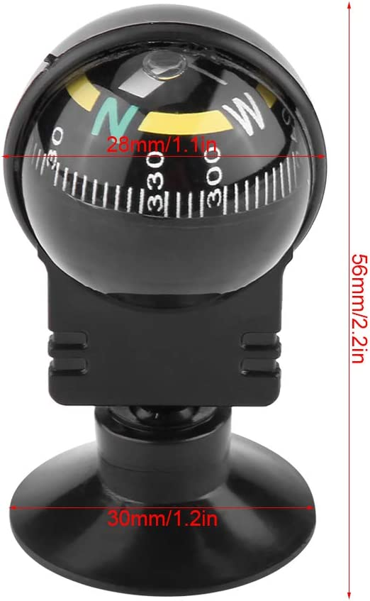 1.6 1.6in for Marine Boat Truck Car Outdoor Fydun Pivoting Compass Dash Mount Mini Portable Self-adhesive Compass Ball Black 40 40mm