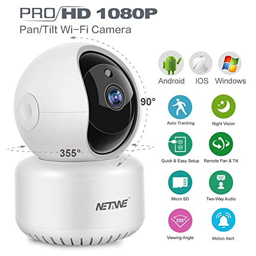 WiFi IP Camera 1080P, Home Indoor Security Camera, Pet Dog Nanny Baby Camera Monitor Pan/Tilt/Zoom Dome Camera with Night Vision, 2 Way Audio, Motion Detection, Auto Tracking, SD & Cloud Storage