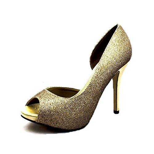Toe Aperto Tacco Oro Partito Coperto Scarpe Glitter Sendit4me Lato Peep Alto x7gYqY