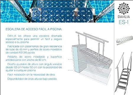 Escalera de Piscina de Facil y Seguro Acceso de Acero Inoxidable con Escalones Antideslizantes de 60cm Regulable para Todo Tipo de Piscinas.: Amazon.es: Jardín