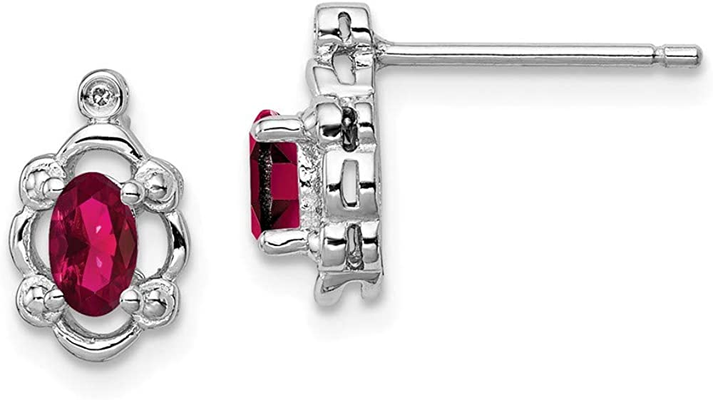 Simulated Ruby and Diamond Earrings Mia Diamonds 925 Sterling Silver 10mm x 6mm .01cttw