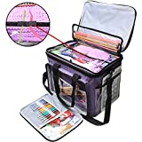 "Teamoy Knitting Bag, Yarn Tote Organizer with Cover and Inner Divider (Sewn to Bottom) for Crochet Hooks, Knitting Needles(up to 14""), Project and Supplies, Purple(No Accessories Included)"