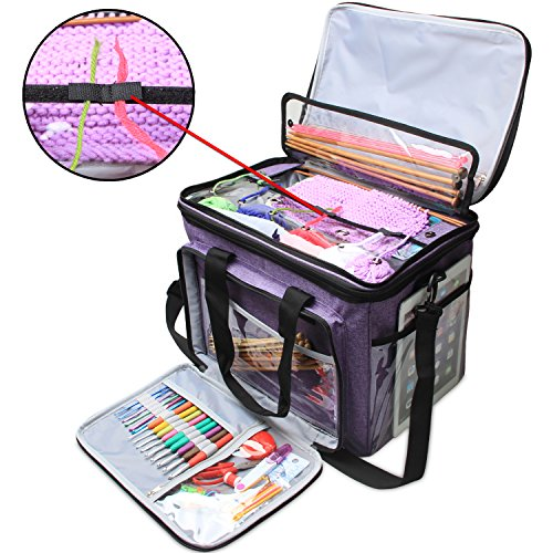 Teamoy Knitting Bag, Yarn Tote Organizer with Cover and Inner Divider (Sewn to Bottom) for Crochet Hooks, Knitting Needles(up to 14