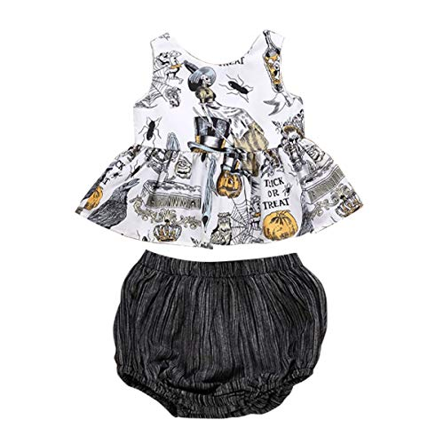 BabiBeauty Baby Girls Halloween Outfits Ghost Print Sleeveless Ruffle Tops+ Shorts Set (Multi, 80/6-12 Months) -