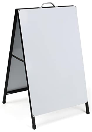 displays2go sturdy steel a frame sidewalk sign with 2 gloss white panels foldable
