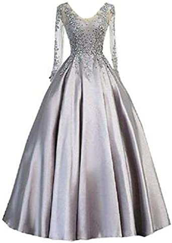 inmagicdress Silver Long Sleeves Prom