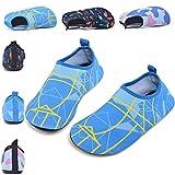 SONLLEIVOO Toddler Swim Water Shoes for Kids Boys Girls Slip on Non-Slip for Beach Surf River(Blue,30)
