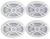 (4) Rockville RMSTS69W 6x9 2000w Waterproof Marine Boat Speakers 2-Way White