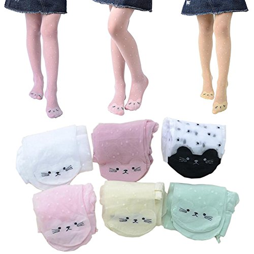 6Pack of Pantyhose Tights Pants, Fashion Cat Design Lace Sheer Tights Summer Cute Tights for Baby Kids Girls' (6 colors, M(Heights: 80-100CM))