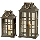 WHW Whole House Worlds Farmer's Market Hurricane Candle Lanterns, Set of 2, Flower Roundels and Rope Details, Cross Post Frame, Wood and Metal, Rustic Shabby Finish, Over 2 Ft and 1 1/2 Ft Tall
