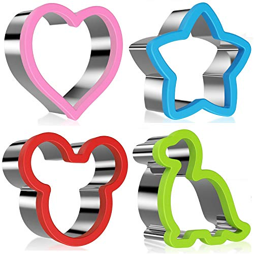 Stainless Steel Sandwiches Cutter, Mickey Mouse & Dinosaur & Heart & Star Shapes Cookie cutter Biscuit Cutter -Food Grade Biscuit Mold Cake Cutter for Kids, 4pack
