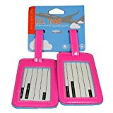 New Set of 2 PVC Luggage ID Tags PICK YOUR COLOR!!! (Pink), Bags Central