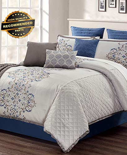 Gatton Premium New Bedding Pieran 14-Pc Comforter Set Cal. King Gray 460 | Style Collection Comforter-311012576