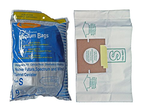 1 X Hoover Type S Envirocare Brand Allergen Microlined Vacuum Bags - 9 in a pack (Bags Vacuum Filtration Types Micro)