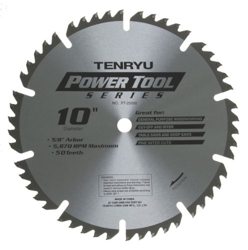 "Tenryu PT-25550 10"" Carbide Tipped Saw Blade ( 50 Tooth ATAF Grind - 5/8"" Arbor - 0.091 Kerf)"