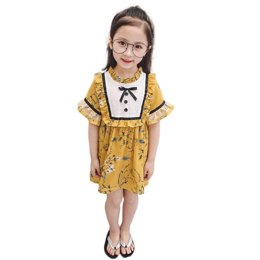 CSSD Kids Girls Summer {Floral} {Bowknot Ruffle Patchwork} {Short Sleeve} {Strappy Sundress} {Princess Dress} (5T, Yellow)