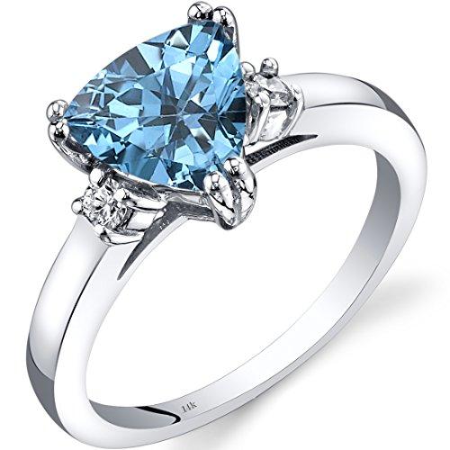 14K White Gold Swiss Blue Topaz Diamond Ring Trillion Cut 2.00 Carat ()