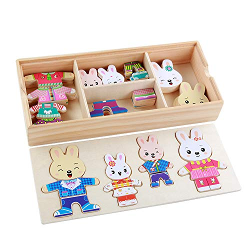 BELUPAID Wooden Puzzle Set,Bear Rabbit Jigsaw Family Dress-Up Change Clothes Educational Toys with Storage Box Gift for Girls Boys