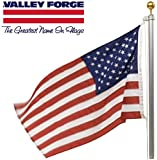 Valley Forge, American Flag Kit, Nylon PERMA-NYL, 3' x 5', 100% Made in USA, Commercial Grade Flag, 20-Foot Aluminum In-Ground Pole and Hardware