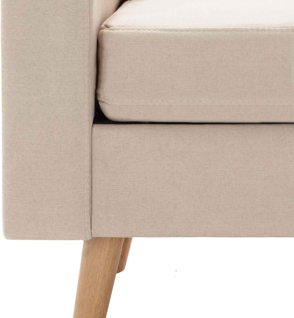 vidaXL Sofa 3-Sitzer Couch Polstersofa Loungesofa Stoffsofa Sitzm/öbel Wohnzimmersofa Designsofa Polsterm/öbel Creme Stoff Holzrahmen