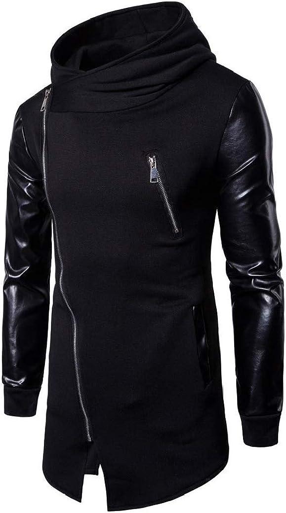 HEFASDM Men Oblique Zipper Pockets Hooded Irregular Luxury Tunic Sweatshirt