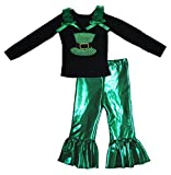 Petitebella Sequins Hat Black L/s Shirt Bling Green Pant Set for Girl 1-8y (6-8 Years)