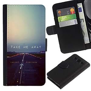 iKiki Tech / Cartera Funda Carcasa - Plane Runway Takeoff Quote Motivational - Samsung Galaxy S3 I9300
