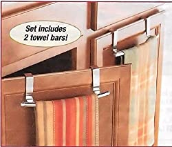 Trenton Gifts Cabinet Door Towel Bar. Brushed Stainless Steel. 9 Inch - Pack Of 2.