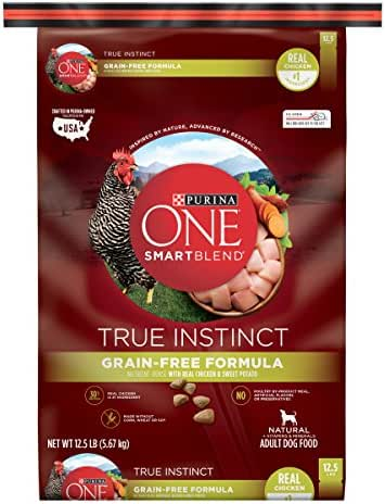 Purina ONE Grain Free, Natural, High Protein Dry Dog Food, SmartBlend True Instinct Real Chicken - 12.5 lb. Bag (Packaging May Vary)