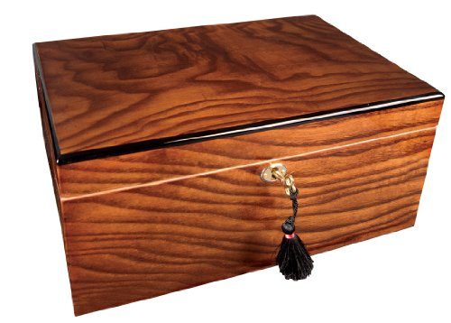 Savoy Medium Ash Burl Humidor - Holds 50 Cigars