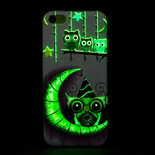 Custodia iPhone 5C , LH Luna Gufo Fluorescenza Silicone Morbido TPU Case Cover Custodie per Apple iPhone 5C