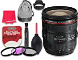 Canon EF 24–70mm f/4L IS USM Lens for Canon DSLR Cameras - International Version (No Warranty) + 3pc Filter Kit (UV, FLD, CPL) + 3pc Accessory Kit w/ Celltime Cleaning Cloth