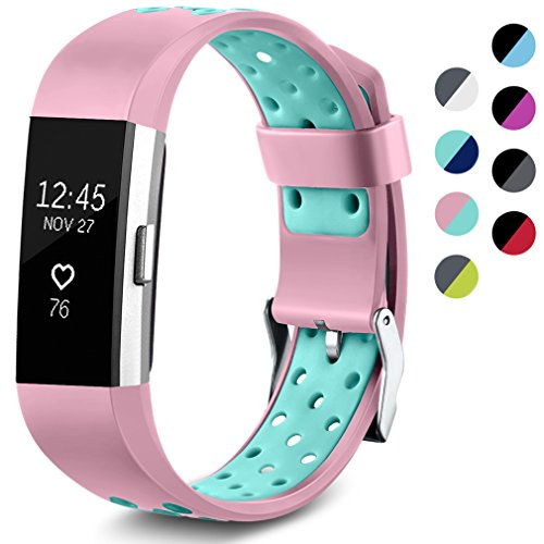 Maledan Replacement Sport Bands with Air Holes Compatible for Fitbit Charge 2, Pink/Teal, Large