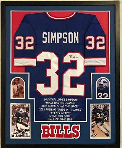 FRAMED OJ O.J. SIMPSON AUTOGRAPHED SIGNED BUFFALO BILLS STAT JERSEY JSA COA