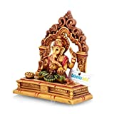 CraftVatika Marble Ganesha Statue Handpainted Hindu God Ganesh Murti Stone Sculpture Idol Christmas Decorations For Home | Christmas Gifts |