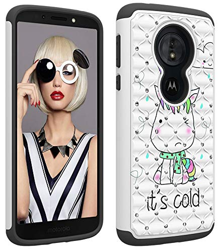 Wiitop Compatible Motorola Moto G6 Play Case,Moto G6 Forge Case [Heavy Duty] Tough Dual Layer 2 in 1 Rugged Rubber Hybrid Hard Plastic Soft TPU Back Protective Cover Glitter Crystal - Little Monster