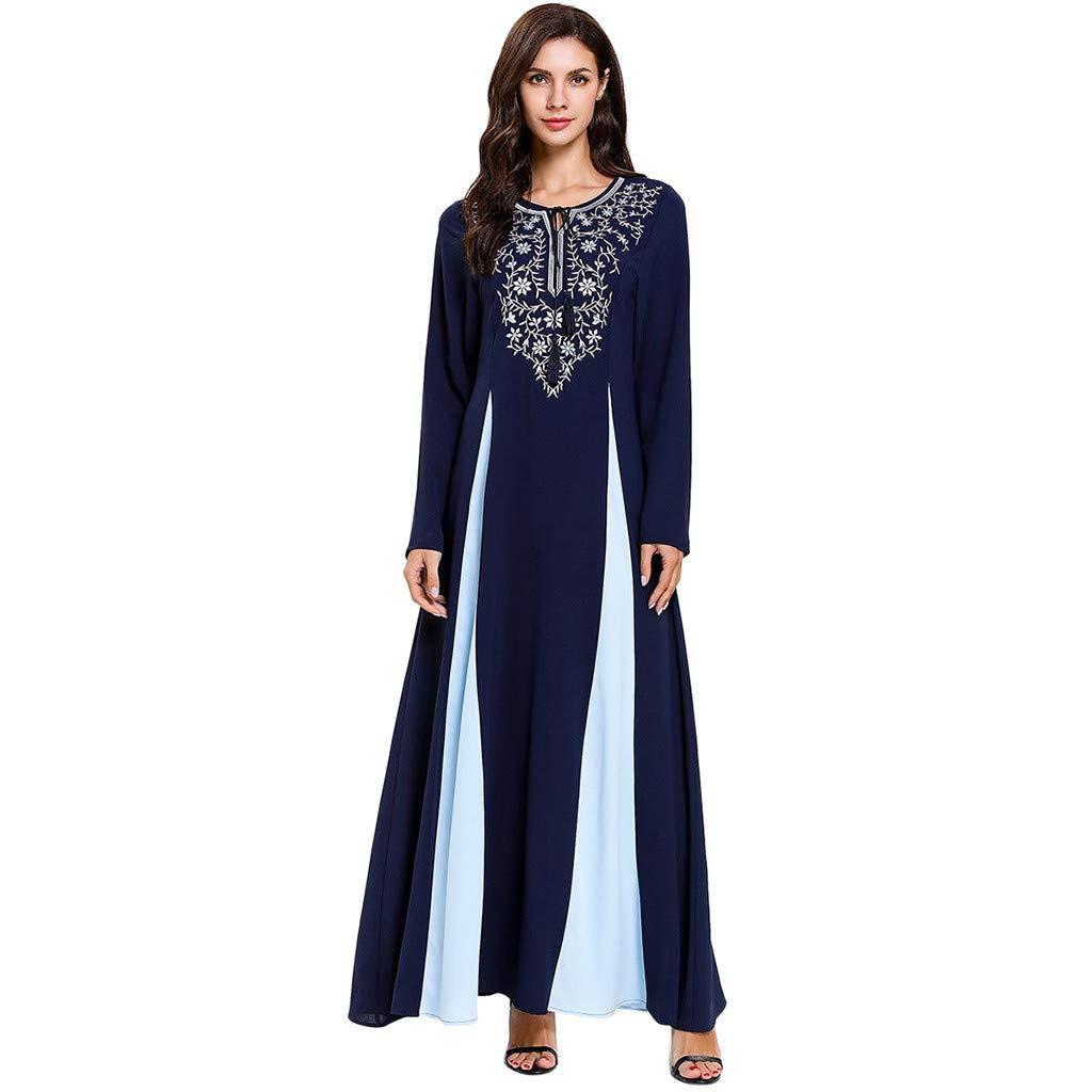 Women's Slim Ethnic Style Maxi Dress,Muslim Embroidered Long Sleeve O-neck Elegant Long Dress Retro Open Kaftan Abaya (XXL, Blue-Color Block)