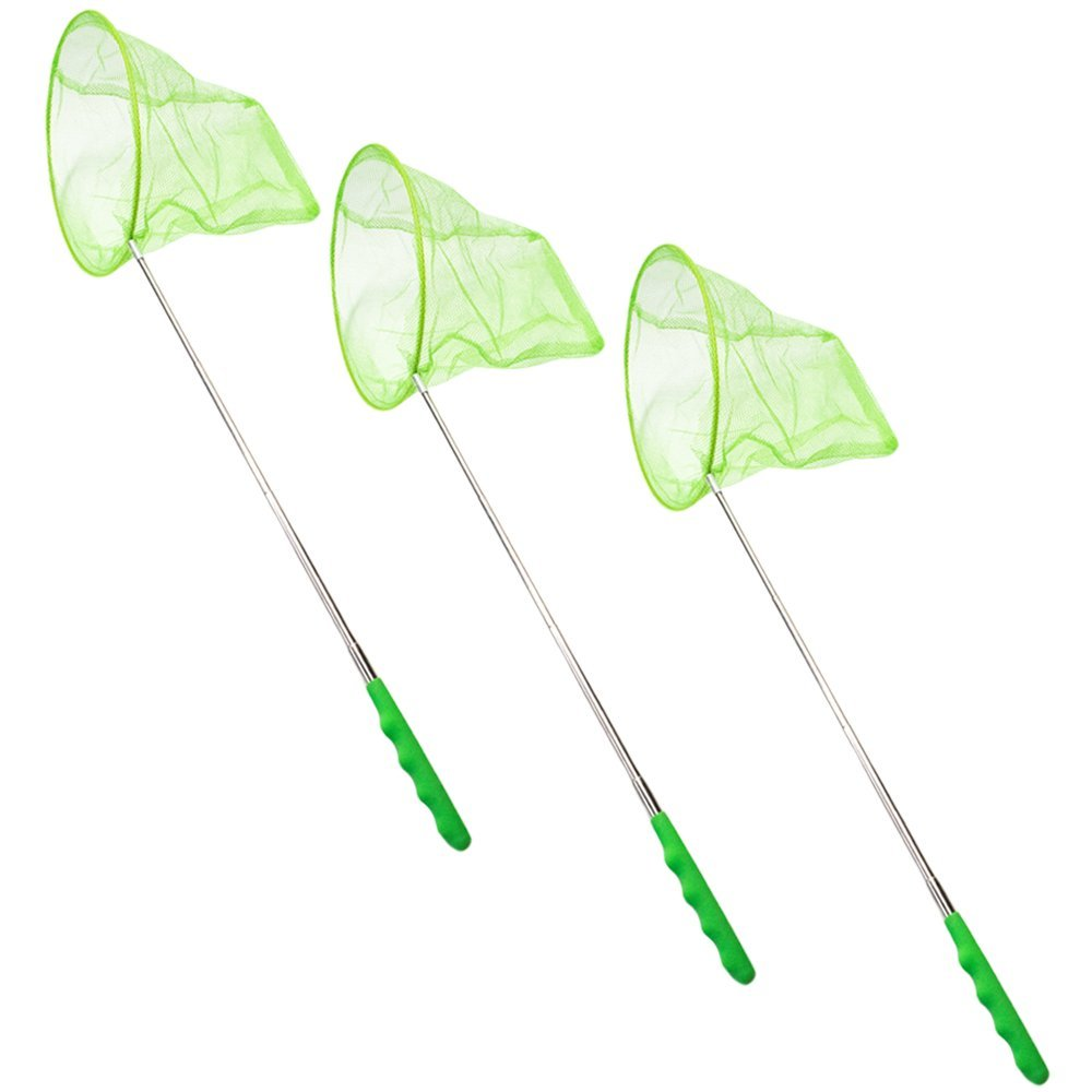 """TukTek Kids First Green Butterfly Net 3 Pack Bug Catcher Outdoor Nature Science Education Telescoping 27"""" Extendable Toy for Boys and Girls"""