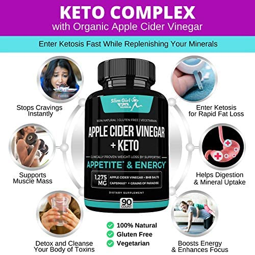 Slim Girl Keto Organic Apple Cider Vinegar Capsules + BHB Salts Keto Pills for Women   Enter Ketosis 5X Faster While Replenishing Minerals Without The Taste or Smell 4