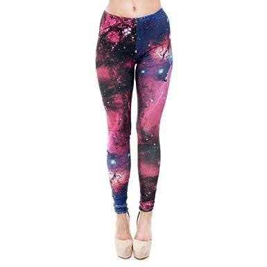Targogo Lápiz Pantalones Moda para Mujer Galaxy Impreso Elástico ...