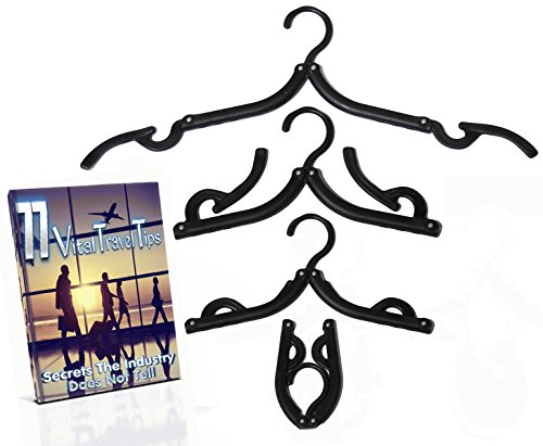 A1PP Folding Plastic Black Hangers 8 Pack - Travel Clothes & Dress Hangers – BONUS 77 Secret Travelers Tips Ebook - For Laundry Centers, Drying Racks, Cruise Ships – Foldable Lightweight