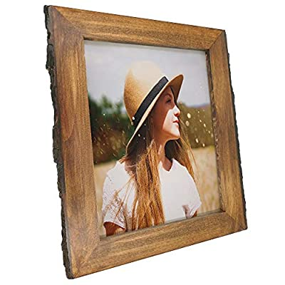 IKEREE 8x10 Picture Frames with Bark Edges, Rustic Wood Photo Frame for Tabletop or Wall Display, Natural Brown - Nature Brown 8x10 inch picture frame, Wood HANDMADE in varying Textures, showing your memories specially of home decor. Please notice that surface may have scratch and bark peel off, contact us to replace if met. Thank you! Natural BARK EDGES Frame add lots of Rustic style while calling attention to the best of memories. Display on Tabletop or Wall Horizontally or Vertically with GLASS front for your photos, prints or arts for wedding, baby shower, mothers fathers day gifts, Photographers etc. - picture-frames, bedroom-decor, bedroom - 51gH9l%2BuJNL. SS400  -
