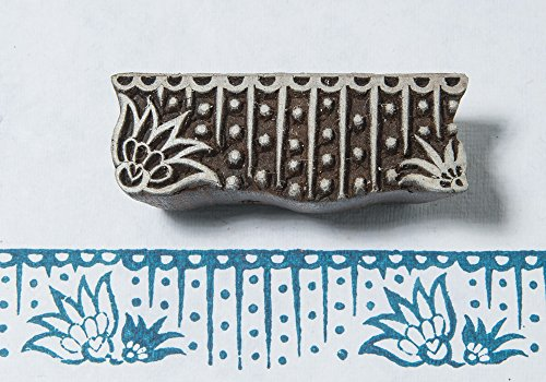 Blockwallah Lotus Border Wooden Block Stamp Repeating Border