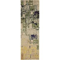 Modern 2 feet by 7 feet (2 x 7) Runner Barcelona Beige Contemporary Area Rug
