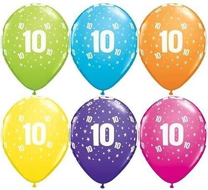 "10 x 11/"" Balloons printed /""10th Birthday/"" Asstd Colours"