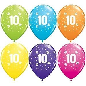 Age 10/10th Birthday Tropical Assorted Qualatex 11