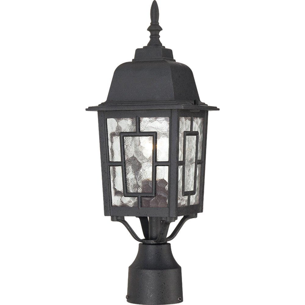 Nuvo Lighting 60/4929 Banyon One Light Post Lantern 100 Watt A19 Max. Clear Water Glass Textured Black Outdoor Fixture