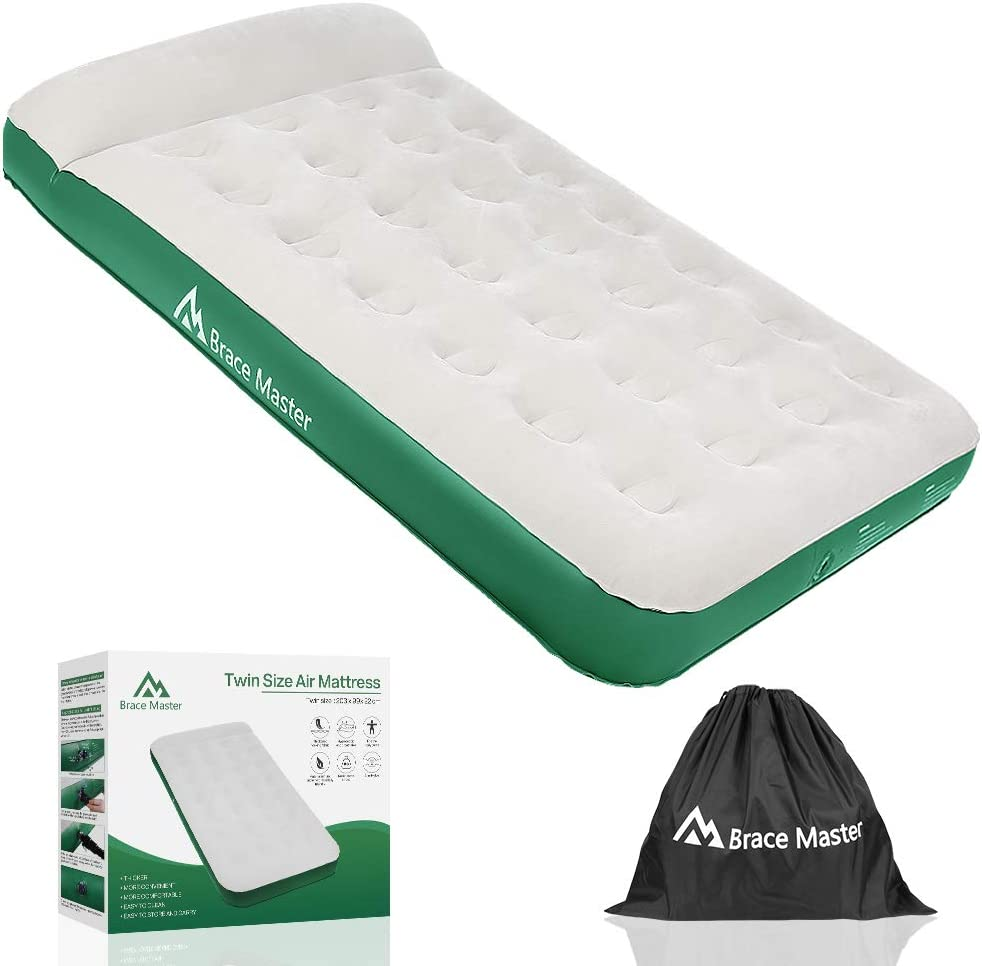 Brace Master Air Mattress with Twin Size and Pillow Portable Air Bed Blow Up Waterproof Flocked Fabric Mattress for Camping Car//Guests//Office Lunch Break//Family//Outdoor//Holiday